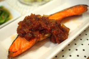 タニタレシピの鮭の野菜ソース